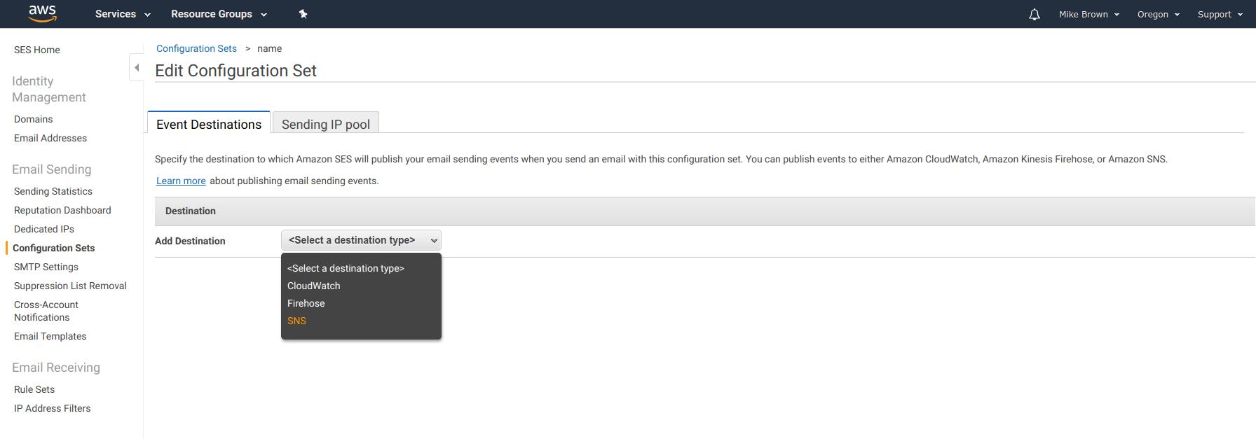 Amazon SES - Adding new Configuration Set