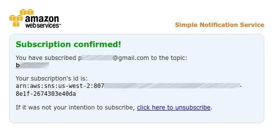 Amazon SNS - Subscription Confirmation